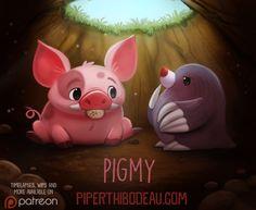 Daily Paint Pigmy by Piper Thibodeau. Funny Drawings, Cute Animal Drawings, Kawaii Drawings, Animal Puns, Animal Food, Chibi, Kawaii Doodles, Cute Creatures, Kawaii Cute