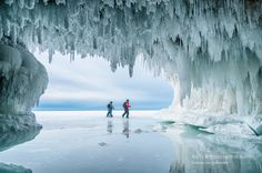 At the Apostle Island ice caves that were in the international news. Lake Superior near Bayfield and Cornucopia, Wisconsin.