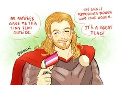 Marvel's Thor, god of Thunder, has become a lesbian icon. Check out the best posts celebrating the Avenger's strongest lesbian ally in this funny gallery. Funny Marvel Memes, Dc Memes, Marvel Jokes, Marvel Cartoons, Gay Comics, Loki Thor, Lgbt Memes, Funny Lesbian Memes, Lesbian Pride