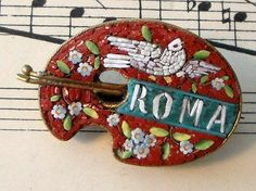 Antique Italian Micromosaic Micro Mosaic Brooch Bird Palette C 1900   eBay