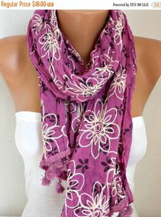 Floral Scarf Teacher  Gift Shawl Cotton Summer Cowl by fatwoman