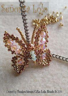 Seed Bead Patterns, Beaded Jewelry Patterns, Beading Patterns, Bracelet Patterns, Stitch Patterns, Beaded Brooch, Beaded Earrings, Butterfly Jewelry, Beaded Animals