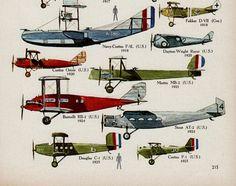 Vintage print WW1 AEROPLANES Aircraft illustration boys bedroom decor planes