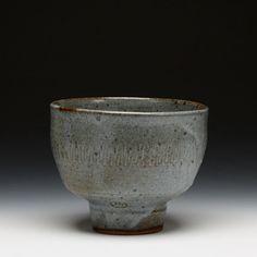 Warren MacKenzie Pedestal Bowl (stoneware with satin blue glaze)