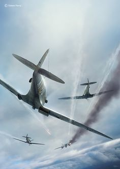 23rd July - 15:30hrs. Three pilots from Blue Section 609Sqn, F/Lt Rushmer, P/O Berry and P/O Benson attack Do17Z-3 7T+BH of 1/KuFIGr. 606. The Do17 returns fire during the attack. Its going down streaming oil and smoke as it enters cloud and crashes into the sea 75 miles E of Aberdeen. Blue 1 and 3 circle the Do17, but there are no survivors. Rushmer's Spitfire has been damaged in the tailplane. Benson's received wing and windscreen damage and crash lands back at base..