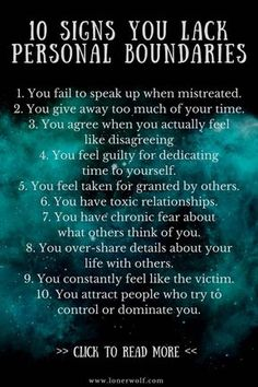 Personal boundaries Are you in a toxic or codependent relationship? Personal boundaries are the mental, emotional, and physical walls we create to protect ourselves from being used, manipulated, or violated by others. Boundaries Quotes, Personal Boundaries, No Boundaries, Personal Qualities, Affirmations, Setting Boundaries, Narcissistic Abuse, Healthy Relationships, Relationship Tips