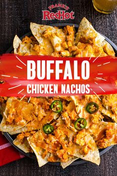 Buffalo Chicken Nachos Grab a sheet pan and prepare your taste buds. These melty Buffalo Chicken Nachos are loaded with the flavor and heat of Frank's RedHot Buffalo Wings Sauce. They're ready in just 10 minutes. Tostadas, Tacos, Buffalo Wings, Chicken Nachos Recipe, Chicken Recipes, Food Network, Appetizer Recipes, Dinner Recipes, Appetizers
