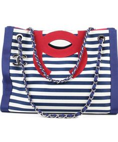 Chanel Cruise 2010 Stripes Red White And Blue Canvas Grosgrain Silver Hardware Tote