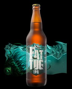 Fat Tug beer label - die-cut wrap with knock out and stylized vintage-vibe nautical illustration by Hired Guns Creative
