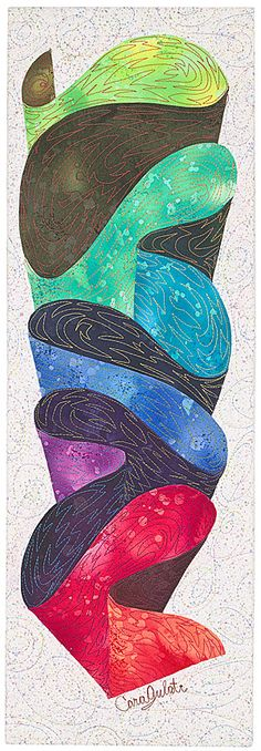 "Ribbon Cascade 1 This small quilt is only 8"" X 24"" and is stretched on a canvas so that it hangs like a picture"