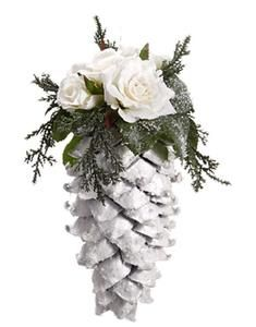 Snow Drift Large Glittered Pine Cone with Roses Christmas Ornamen Christmas Pine Cones, Artificial Christmas Wreaths, Christmas Crackers, Noel Christmas, Victorian Christmas, Rustic Christmas, Winter Christmas, Primitive Christmas, Christmas Wedding