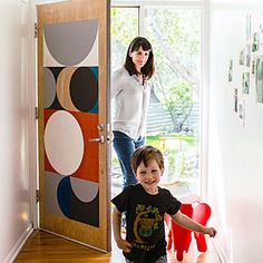 Add color to your home with a bold graphic. This homeowner gave a former student a challenge: Look at the house, then paint the front door however you think looks best. The result—graphic shapes on both sides—nods to the home's midcentury lines.