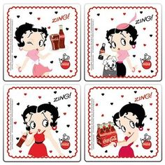 Betty Boop COASTERS 4 PIECE SET HEARTS DESIGN RETIRED