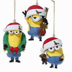 Kurt Adler 1 Set 3 Assorted Despicable Me Minions Bob, Stuart And Kevin Blow Mold Ornaments: This adorable set of holiday ornaments makes the ideal gift for any Despicable Me Minion movie lovers! Old World Christmas Ornaments, Christmas Store, Christmas Fun, Christmas Decorations, Xmas, Minion Ornaments, Minions Bob, Minion Christmas, Christmas Cartoons