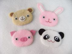 Cute animal set of handmade felt embellishments