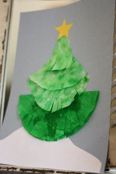 coffee filter Christmas tree craft, Miranda would LOVE getting to use markers for this one :) Christmas Crafts For Toddlers, Preschool Christmas, Christmas Crafts For Kids, Christmas Activities, Craft Activities For Kids, Toddler Crafts, Christmas Projects, Christmas Themes, Kids Christmas