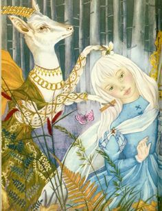 "Adrienne Segur, illustration of fairy tale ""Bright, Deardeer, and Kit."" I think my fascination with having white hair can probably be traced to this illustration in a book I used to have. Classic Fairy Tales, Wonderland, Disney Images, Children's Book Illustration, Book Illustrations, Fairytale Art, Alice, Illustrators, Fantasy Art"
