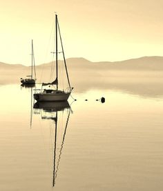 Color Photo of a Tall Mast Sailboat on the Still Golden Waters of Lake Tahoe - Photography Fine Art - Sepia - Waterscape - 8 x 10 Print