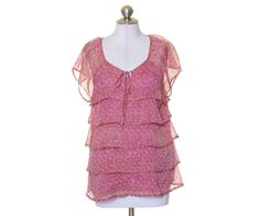 Christopher & Banks Pink Orange Flecked Tiered Lined Blouse Size M #ChristopherBanks #Blouse #Casual