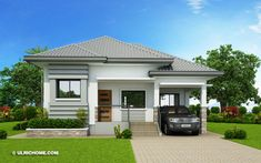 The house in off-white and grey shades has clean with refined edges. This Begilda – Elevated Gorgeous Modern Bungalow House is absolutely amazing. Modern Bungalow House Design, Small Bungalow, Simple House Design, House Front Design, Home Design, Modern Bungalow Exterior, Design Ideas, Bungalows, One Storey House