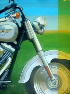 HARLEY FATBOY Brian West    'Harley'. Painted in a semi comic book style, another teenage iconic 'polished chrome' image which I have always felt represents power, freedom, adulation and rebellious two-wheel chic ... the Harley-Davidson Fatboy motorbike.  Artist : Brian West  46cm x 36cm  Acrylic on canvas board  £535