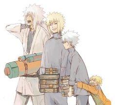 Jiraiya, Minato, Kakashi, Naruto. This is the way naruto should have grown up like.