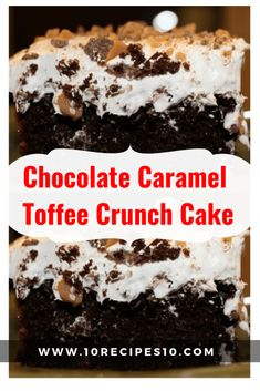 """This Chocolate Caramel Toffee Crunch Cake is often referred to as, """"Better Than Anything Cake,"""" and it may just be true. It is so rich and full of … Ingredients: 1 package German … German Chocolate Cake Mix, Chocolate Toffee, Chocolate Crunch Cake Recipe, Chocolate Chips, Better Than Anything Cake, Earthquake Cake Recipes, Cake Mix Ingredients, Toffee Cake, Ice Cream Toppings"""