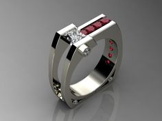 Ring | Harry Roa. 'Moonlighting'. 14k white gold, diamonds and Burmese rubies.