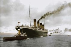 The Titanic leaving Belfast while being guide by two tug boats. Rms Titanic, Titanic Sinking, Titanic Ship, Titanic History, Ancient History, Titanic Boat, Belfast Titanic, Titanic Survivors, Ocean Cruise