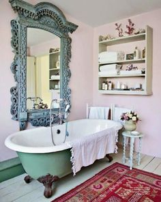 blue bathroom all I would change is the rug!