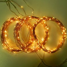 300 Fairy Lights (3*100) on 54-feet of coated copper wire string light. These vine lights use D batteries or 110V Plug-in with Timer.