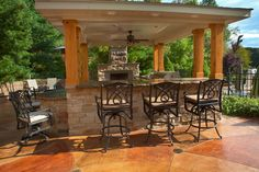 Outdoor patio on pinterest outdoor kitchens outdoor for Outdoor kitchen roof structures