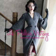 FREE SHIPPING Le  palais vintage limited edition noble elegant grey slim waist flare sleeve thickening woolen outerwear $98,85