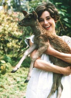 Getting cuddles from Audrey Hepburn must have been awesome