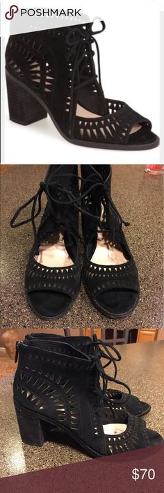 Vince Camuto Tarita Cutout Sandals Black Suede 8.5 Vince Camuto Tarita Cutout Sandals Black Suede Size 8.5. These are in like new condition! Even cuter on and beyond comfortable! Vince Camuto Shoes Sandals