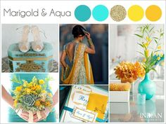 Aqua, Marigold Yellow And Gold - Indian Wedding Color Palette - Indian Wedding Site Home - Indian Wedding Site - Indian Wedding Vendors, Clothes, Invitations, And Pictures.