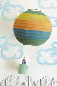 Create an inspirational gift or bedroom decoration for your child with this Paper Lantern Craft: Hot Air Balloon. Let your child know that they have a bright future ahead of them with this paper lantern craft. Craft Activities For Kids, Preschool Crafts, Projects For Kids, Diy For Kids, Fun Crafts, Craft Projects, Crafts For Kids, Music Activities, Craft Ideas