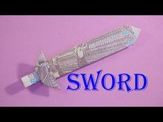gấp giấy origami - money origami sword easy cách gấp cây kiếm bằng tiền giấy | xếp giấy origami - Sáng tạo xanh Origami Snake, Origami Eagle, Origami T Rex, Lotus Origami, Origami Rose Box, Origami Insects, Origami Turtle, Origami Cube