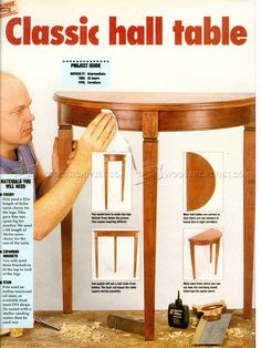 Half Moon Hall Table Plans - Furniture Plans and Projects - Woodwork, Woodworking, Woodworking Plans, Woodworking Projects Dyi Organization, Table Plans, Wooden Tables, Consideration, Furniture Plans, Project Ideas, Wood Working, Woodworking Projects, Cabinets