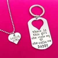 Silver Plated Twin Keychain Necklace Daddy Daughter Dad Father Girls Gift WISH app $1+$1 S&H