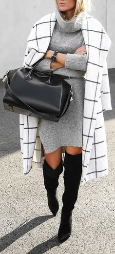 #fall #outfits / gray knit dress + knee-length boots