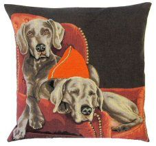 Lounging Weimaraners Belgian Tapestry Cushions http://www.abentleycushions.co.uk/detail.asp?pID=8100