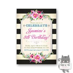235 best birthday invitations for girls images on pinterest pink girls 8th birthday invitations colorful florals 1st 1st birthday invitations girl girl 2nd filmwisefo