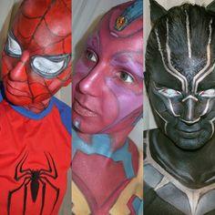 Consegui fazer os 3 personagens inspirados nos heróis de #capitaoamericaguerracivil que eu queria! Agora vamos para os próximos projetos!  #maquiagem #makeup #maquiadora #makeupartist #fotd #cosplay #cosplaybrasil #cosplaybr #maquiagemcosplay #cosplaymakeup #cospaint #marvel #quadrinhos #comics #captainamericacivilwar #captainamerica #civilwar #superheroi #superhero #bodypainting #bodypaint #SpiderMan #HomemAranha #vision #blackpanther #panteranegra