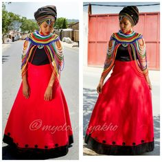 Xhosa Traditional Clothing from My Closet by Akho - Xhosa Culture Traditional Wedding, Traditional Dresses, Xhosa Attire, African Wear, Wedding Designs, High Waisted Skirt, Bridesmaid, Culture, Fashion Outfits