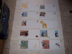 Lot de 5 envelloppes Tintin + carte ( Hergé/Moulinsart / 1999 / La poste )