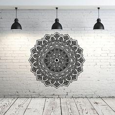 Mandala pared etiqueta Yoga Studio vinilo Sticker Decals ornamento marroquí patrón Namaste Lotus flor Home decoración Boho bohemio dormitorio Arte Bienvenido, eres increíble! ღ Mis etiquetas de la pared más que se hacen con amor, se hacen con pasión! Aproximado tamaño del artículo: