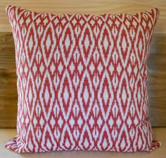 Red and white ikat diamond decorative accent throw pillow cover. $36.00, via Etsy.