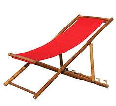 KMH®, Deckchair / Strandstuhl aus Bambus mit rotem Bezug (#104005)