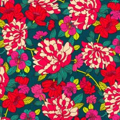 Copeland Magenta Teal Liberty Lifestyle Fabric Bloomsbury Gardens Collection One Yard. $22.00, via Etsy.